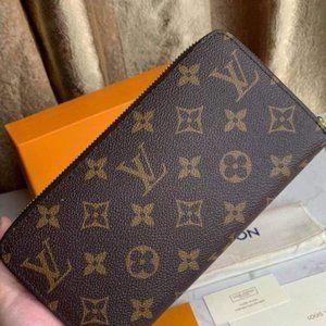 Zip Around Brown Leather LV Monogram Zippy Wallet